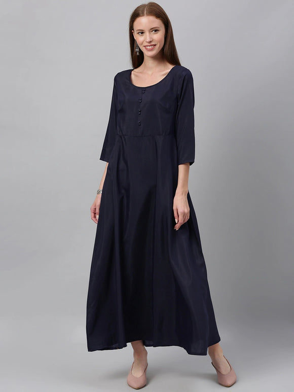 Navy Blue Solid Maxi Dress