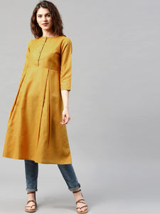 Mustard Yellow A-Line Kurta (Top Only)