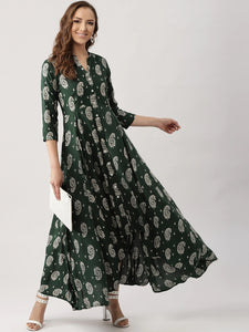 Green & Off-White Printed Maxi Dress