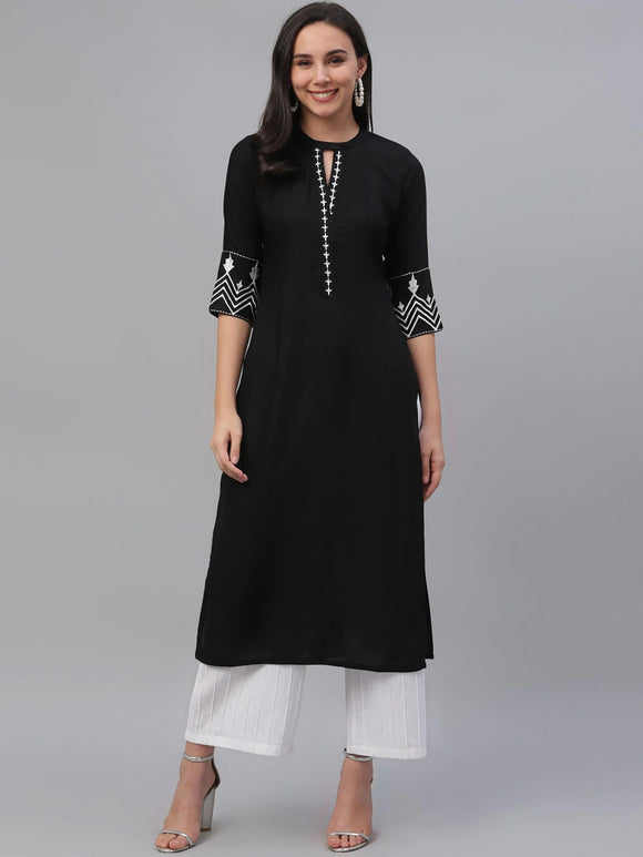 Black & Off-White Embroidered Straight Kurta (Top Only)