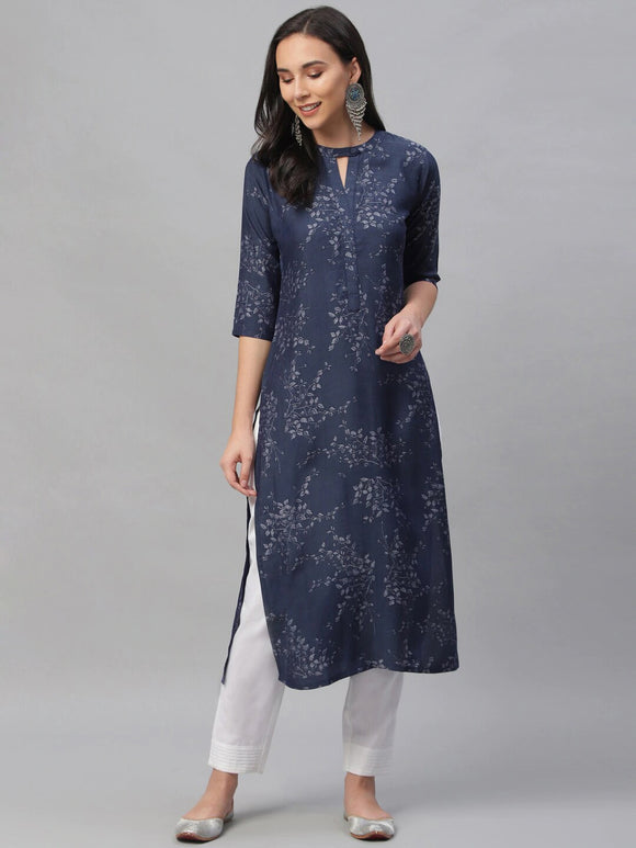 Navy Blue Printed Straight Kurta (Top Only)