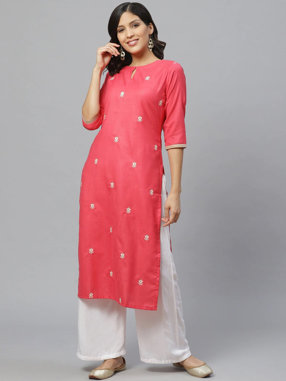 Pink & Off-White Embroidered Straight Kurta (Top Only)
