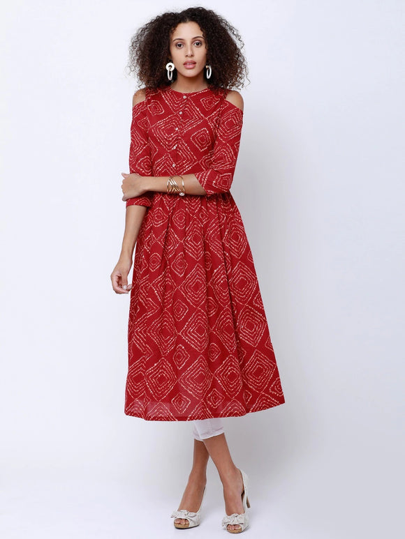 Red Printed A-Line Kurta (Top Only)
