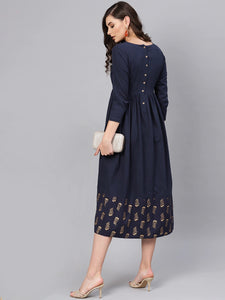 Navy Blue Solid A-Line Dress