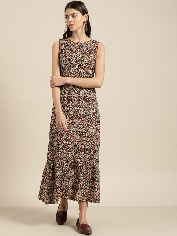 Beige & Maroon Printed A-Line Maxi Dress