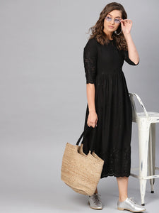 Black Embroidered A-Line Dress