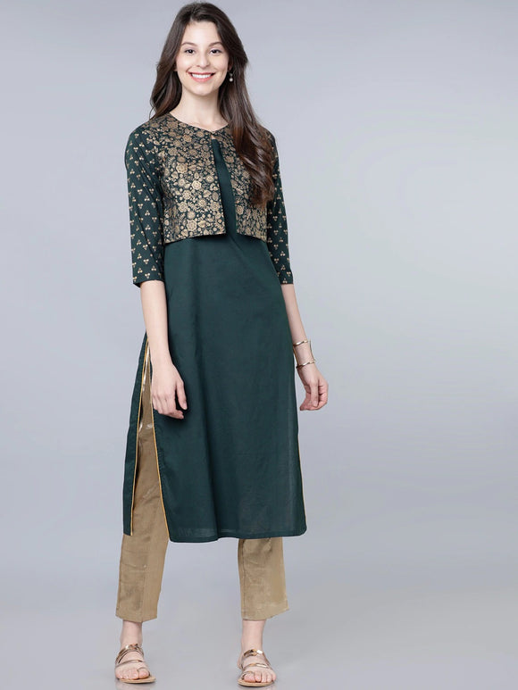Green & Gold-Toned Solid A-Line Kurta With Jacket (Top Only)