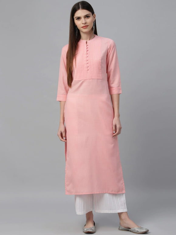 Pink Solid Straight Kurta (Top Only)