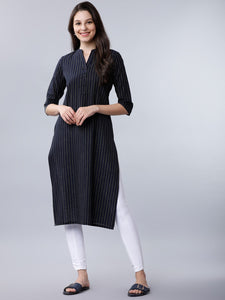Navy Blue & Yellow Striped Straight Kurta (Top Only)