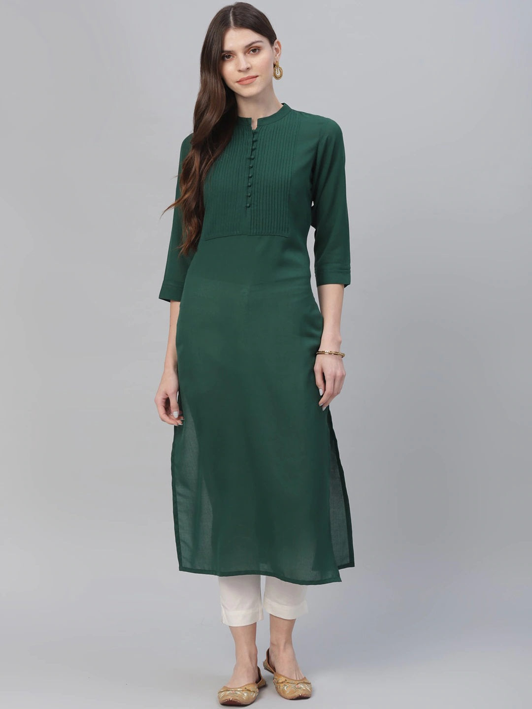Green Solid Straight Kurta (Top Only)