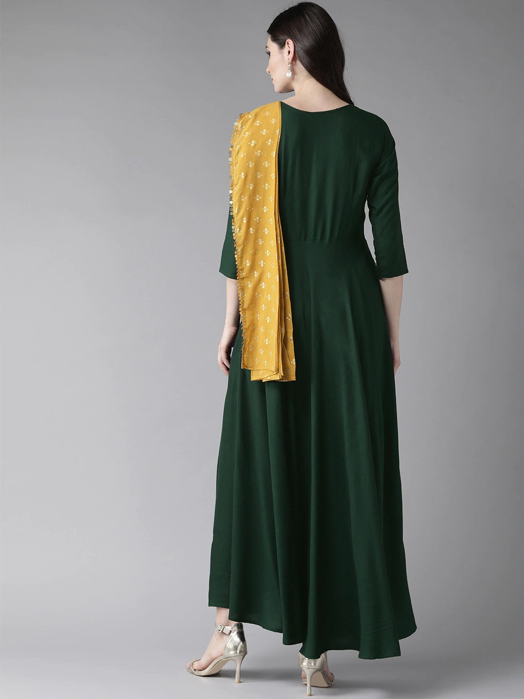 Green & Mustard Yellow Solid Maxi Dress With Attached Dupatta