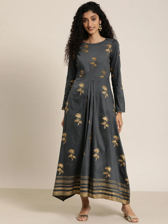 Grey & Gold-Coloured Hand Block Print Legacy A-Line Kurta with Gatheres