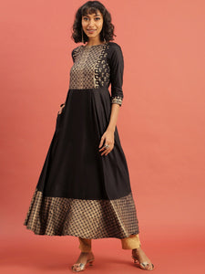 Black & Golden Hand Block Print Legacy A-Line Kurta with Pleats