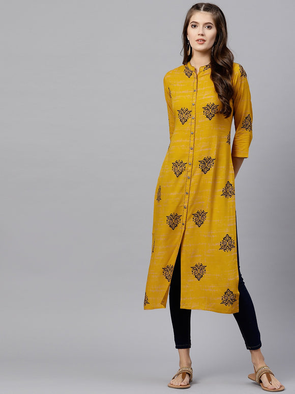 Mustard Brown Printed Straight Kurta (Top Only)