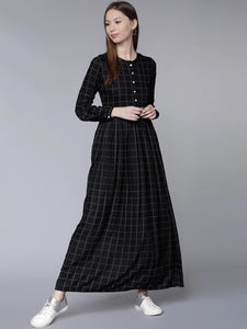 Black Checked Maxi Dress
