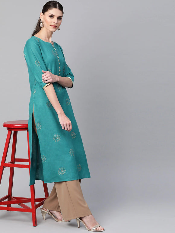 Green & Golden Block Printed Straight Kurta (Top Only)