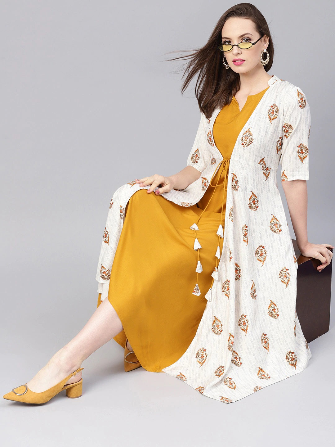 Mustard Yellow & Off-White Solid Maxi Dress with Ethnic Jacket