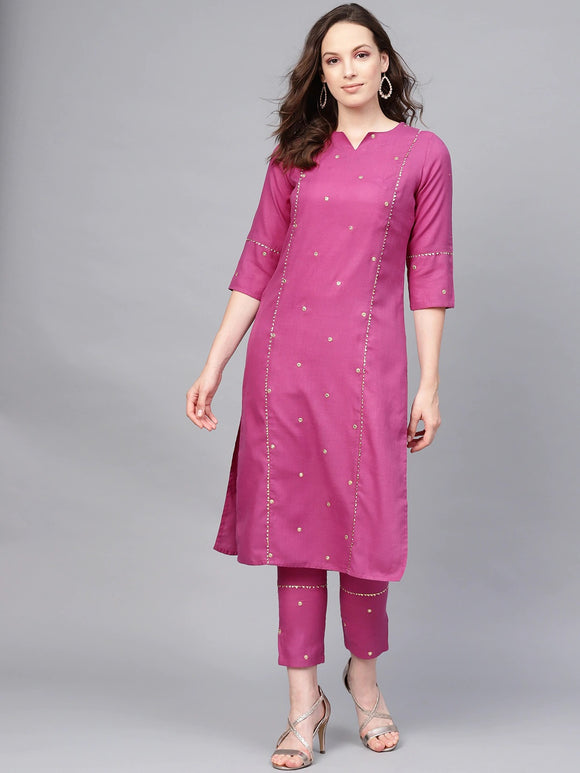 Purple Embroidered Kurta with Trousers