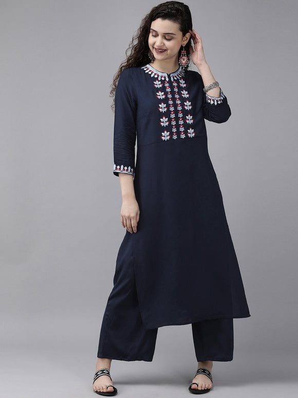Navy Blue Embroidered Yoke Design Kurta with Palazzos