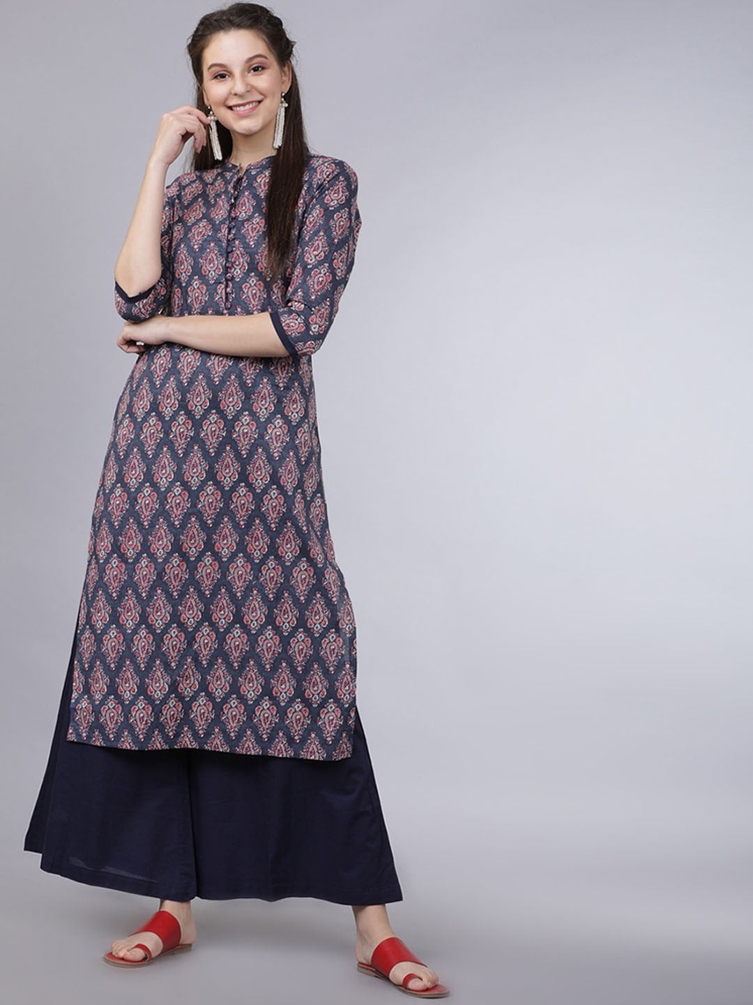 Navy Blue & Pink Printed Kurta with Palazzos
