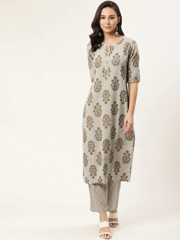 Grey & Brown Block Printed Kurta with Trousers