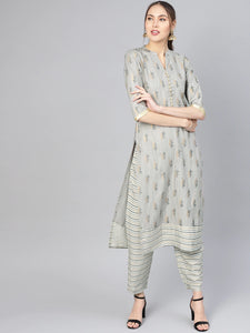 Grey & Golden Printed Kurta with Trousers
