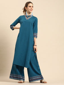 Teal Blue Solid Kurta with Palazzos