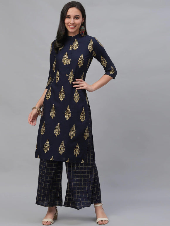 Navy Blue Printed Kurta with Palazzos