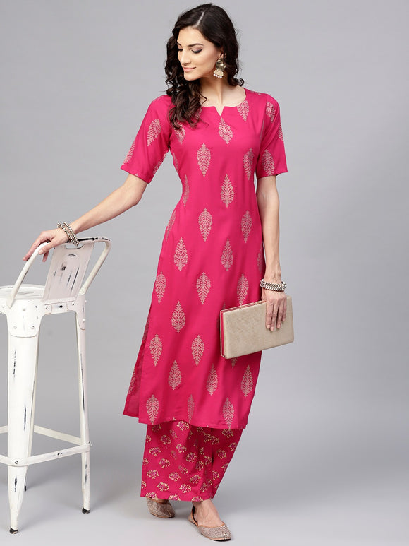 Pink & Golden Printed Kurta with Palazzos