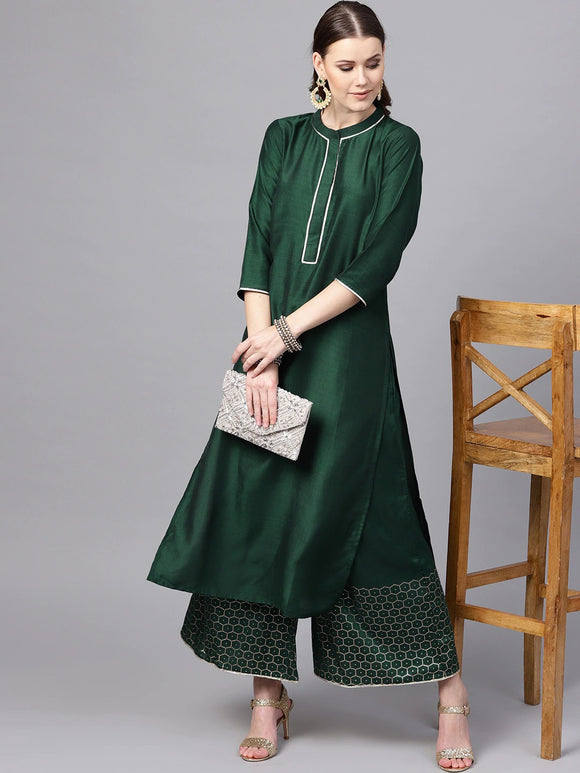Green Solid Kurta with Palazzos