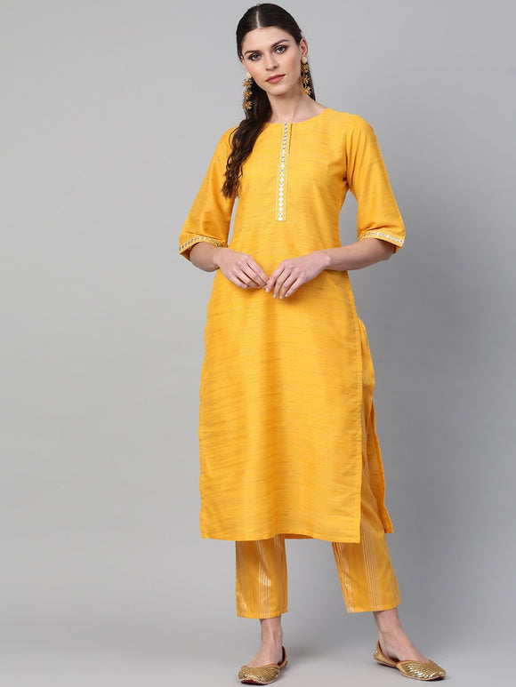 Yellow & Golden Woven Design Kurta with Trousers