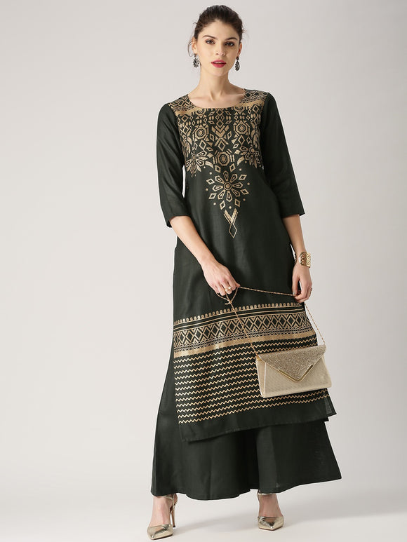Green Printed Kurta with Palazzos