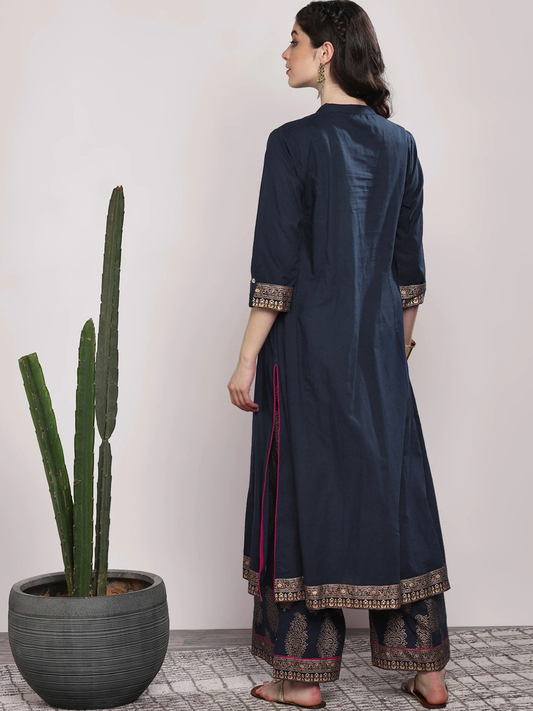 Navy Blue & Gold-Coloured Printed Kurta with Palazzos