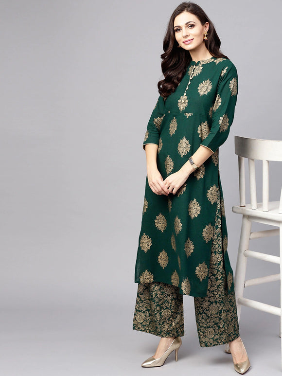 Green & Golden Printed Kurta with Palazzos