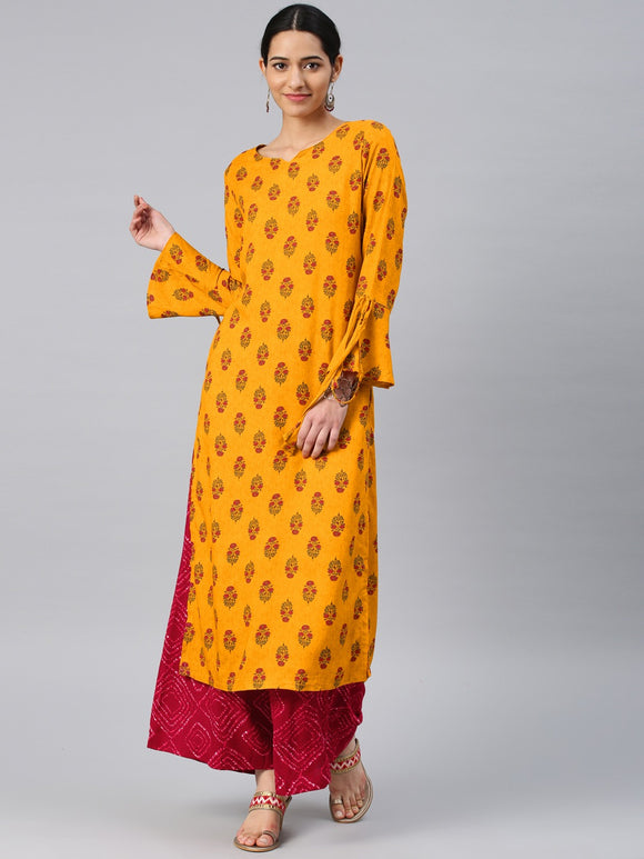 Mustard Yellow & Red Printed Kurta with Palazzos