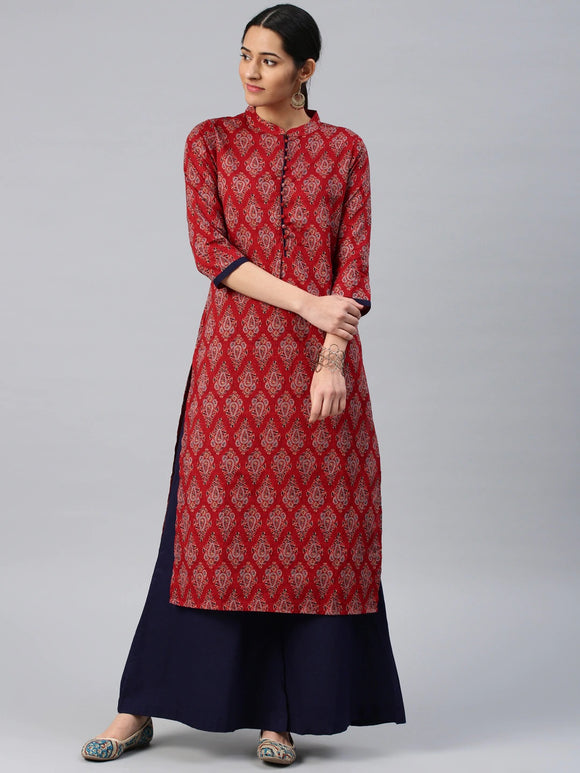 Maroon & Navy Blue Printed Kurta with Palazzos