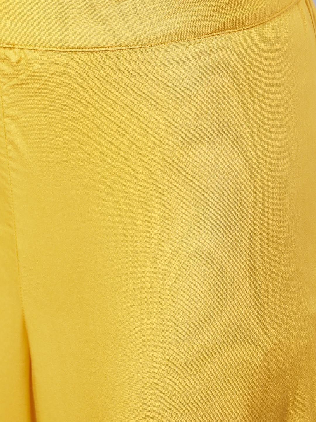 Mustard Embroidered Kurta with Palazzos