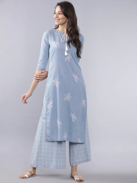 Blue & White Solid Kurta with Palazzos
