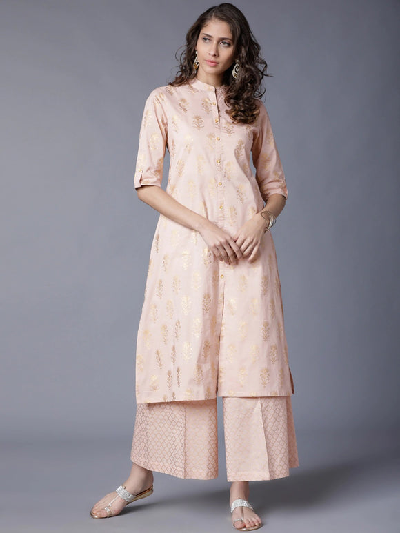 Peach-Coloured & Gold-Coloured Printed Kurta with Palazzos