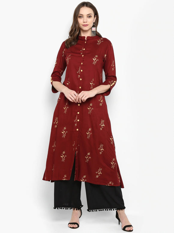 Maroon & Black Printed Kurta with Palazzos