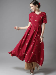 Red & Golden Floral Print A-Line Kurta (Top Only)