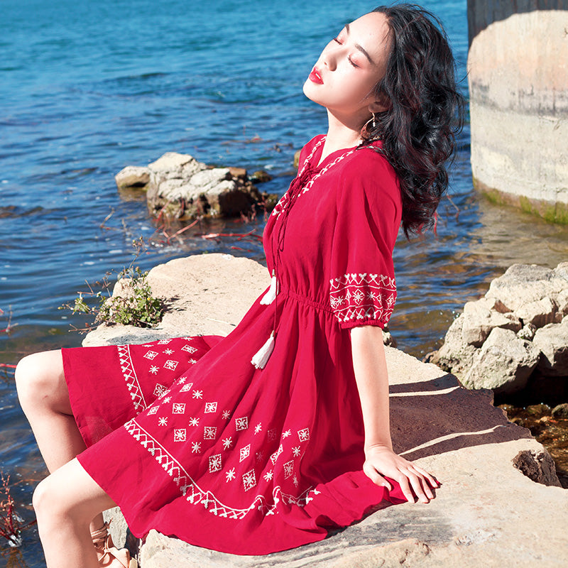 Embroidered Red Bohemian Dress