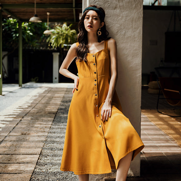 Mustard Sleeveless Long Dress