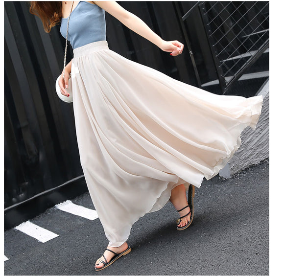 Flowy Chiffon Long Skirt