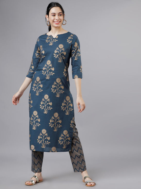 Teal Blue & Gold-Toned Printed Kurta with Palazzos