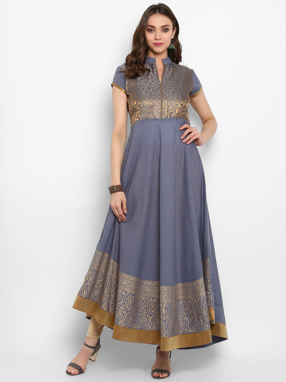 Grey Printed Anarkali Kurta