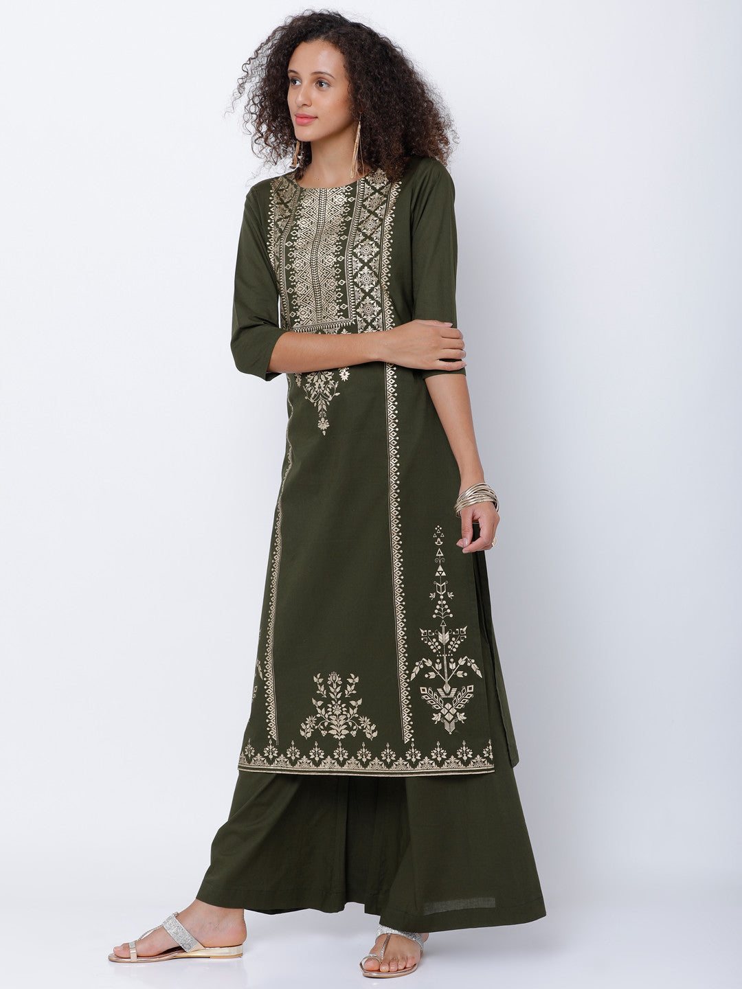 Olive Green & Gold-Toned Solid Kurta with Palazzos