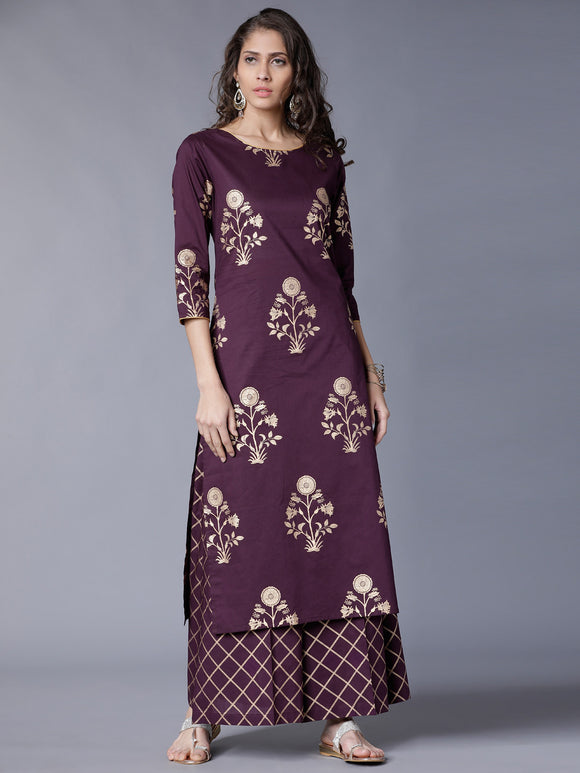 Mauve & Gold-Toned Printed Kurti with Palazzos