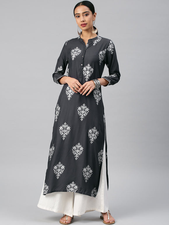 Charcoal Grey Printed Straight Kurta (Top Only)