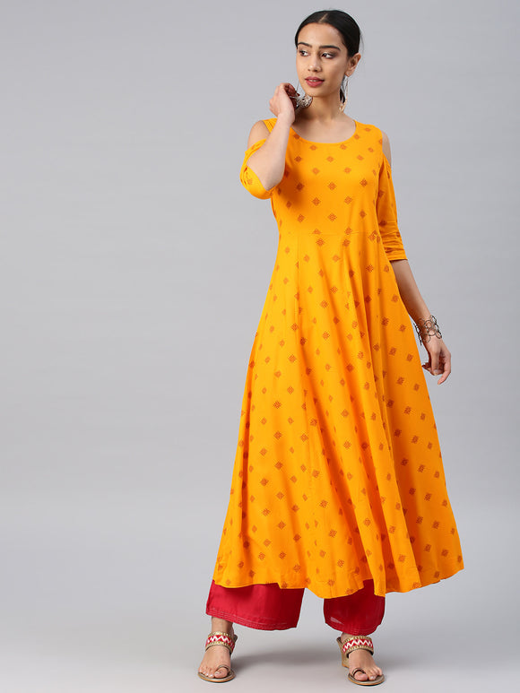 Yellow Printed Anarkali Kurta (Top Only)